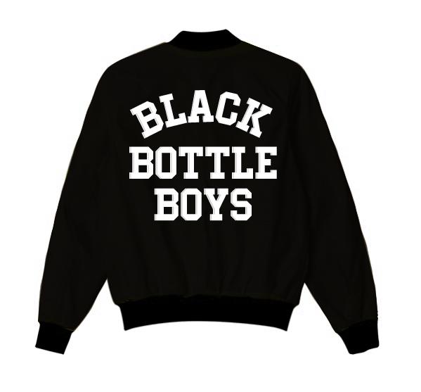 Black Bottle Boys And Girls Varsity Bomber Jacket With Custom Name
