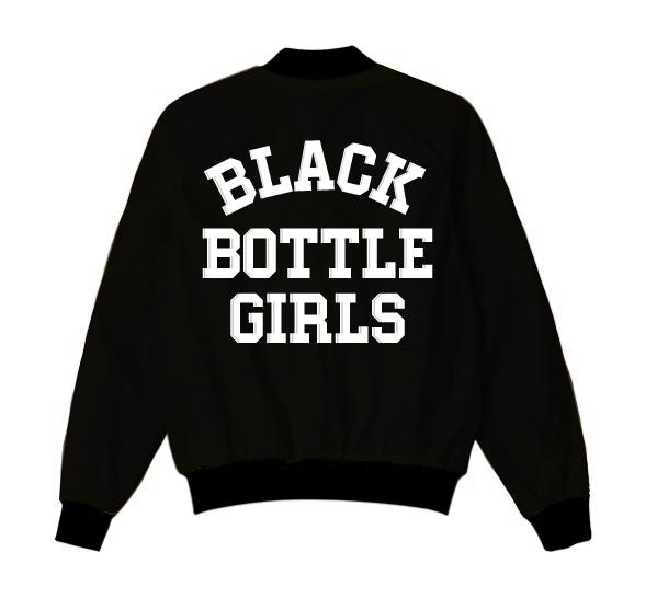 Black Bottle Girls Jacket Varsity Bomber Jacket