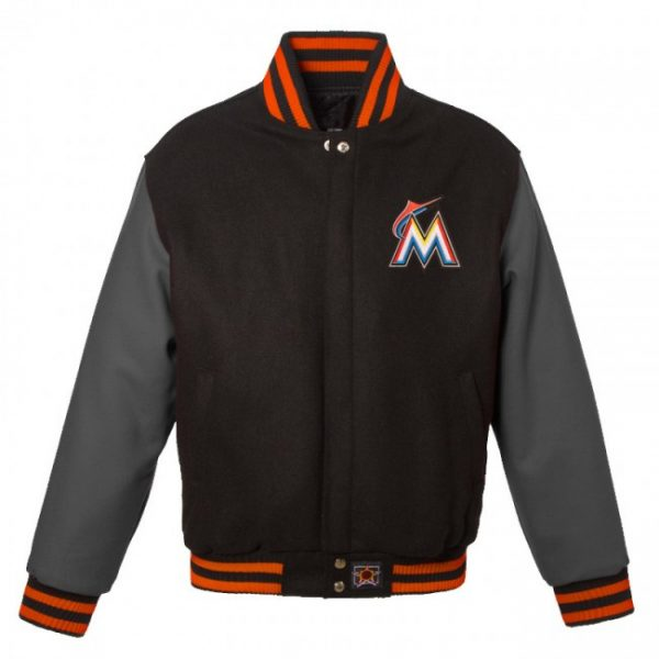 Black & Grey Miami Marlins Baseball Varsity Wool Jacket