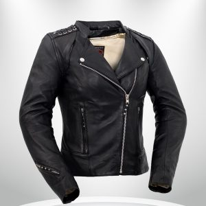Black Widow Rockstar Women's Black Motorcycle Leather Jacke