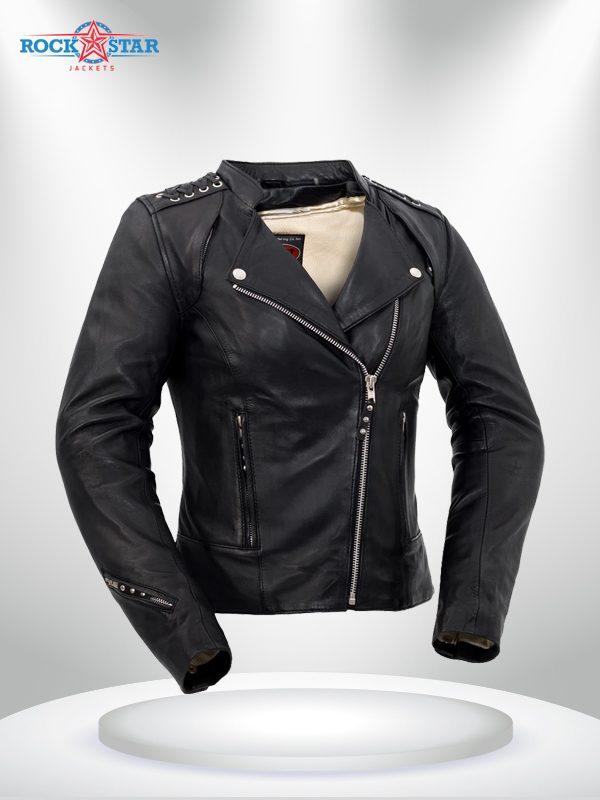 Black Widow Rockstar Women's Black Motorcycle Leather Jacke