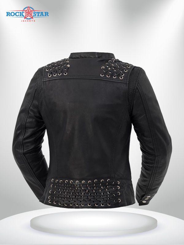 Black Widow Rockstar Women's Black Motorcycle Leather Jacke back