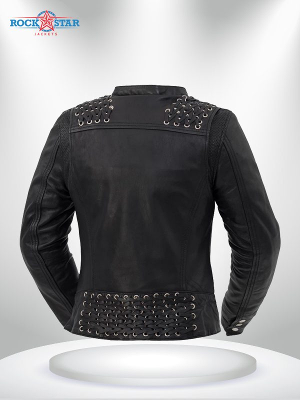 Black Widow Rockstar Women's Black Motorcycle Leather Jacke back