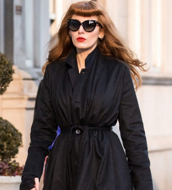Blake Lively The Rhythm Section Black Wool Trench Coat front