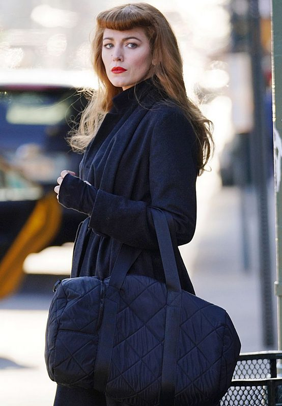 Blake Lively The Rhythm Section Black Wool Trench Coat side