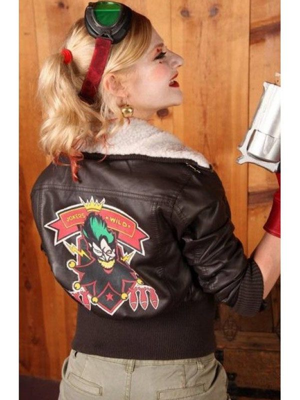 Bombshell Harley Quinn Brown Shearling Leather Jacket back