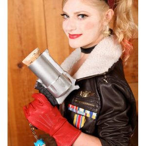 Bombshell Harley Quinn Brown Shearling Leather Jacket front