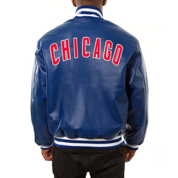Chicago Cubs Royal Team Bomber Blue Leather Jacket back