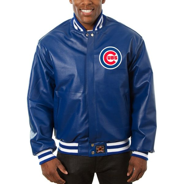 Chicago Cubs Royal Team Bomber Blue Leather Jacket front