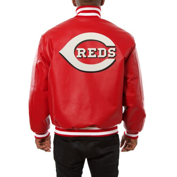 Cincinnati Reds Bomber Red Classic Leather Jacket back