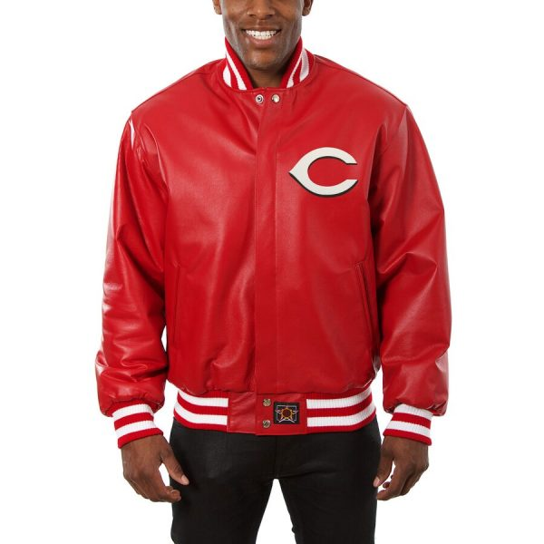 Cincinnati Reds Bomber Red Classic Leather Jacket front
