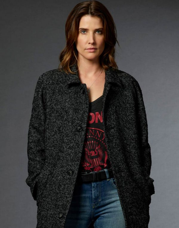 Cobie Smulders Stumptown Ash Grey Long Coat front