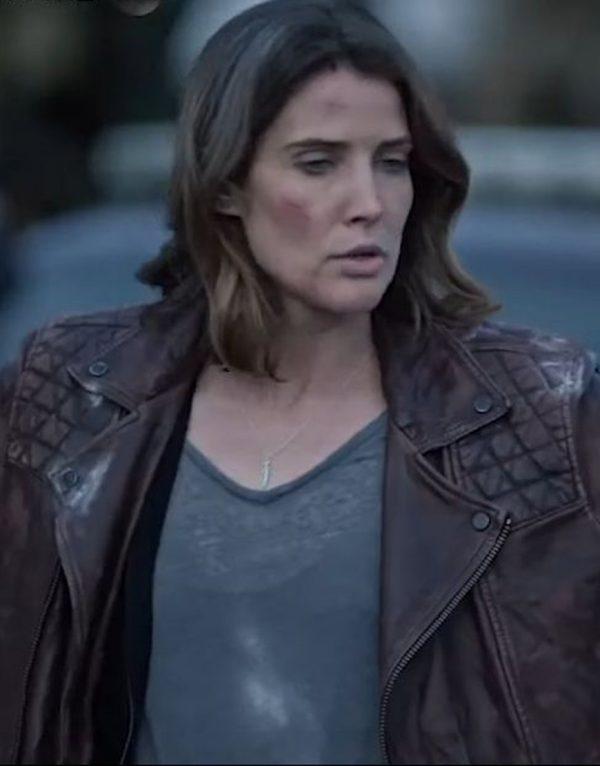 Cobie Smulders Stumptown Quilted Shoulder Leather Jacket