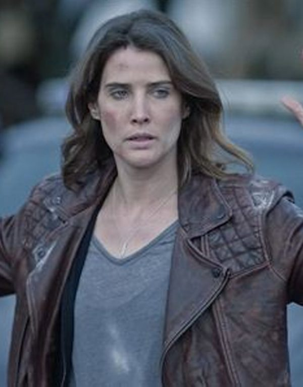 Cobie Smulders Stumptown Quilted Shoulder Leather Jacket front