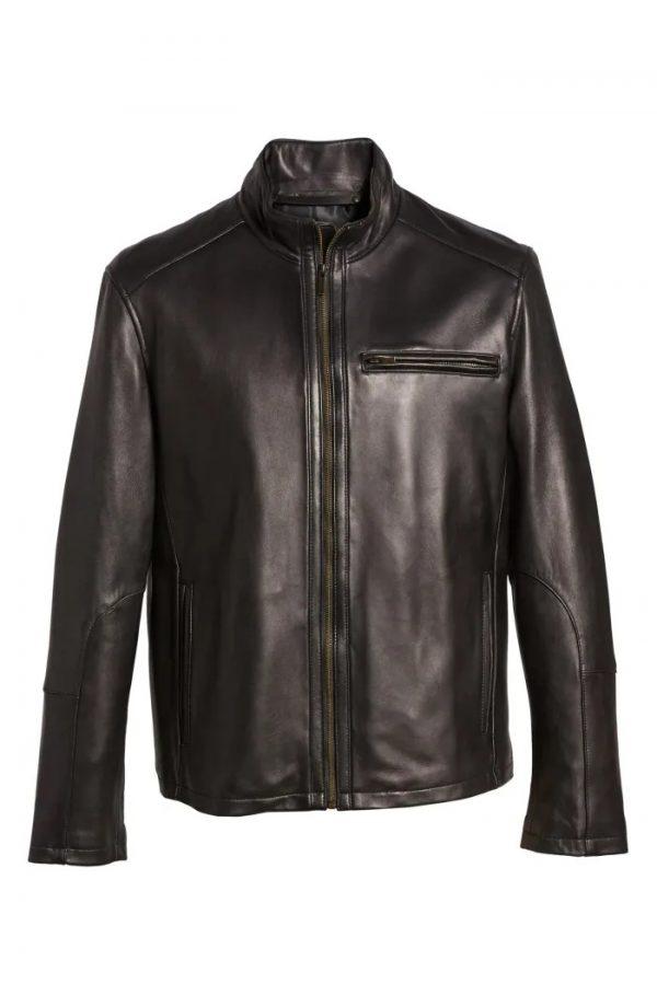 Cole Haan Moto Black Lambskin Leather Jacket