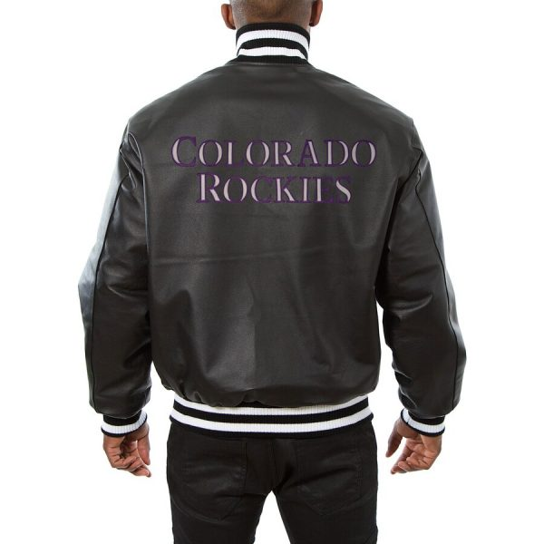 Colorado Rockies Classic Bomber Leather Black Jacket back