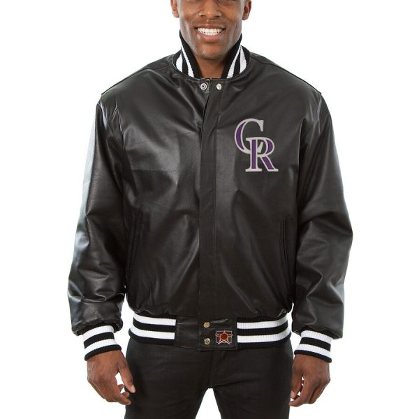 Colorado Rockies Classic Bomber Leather Black Jacket front