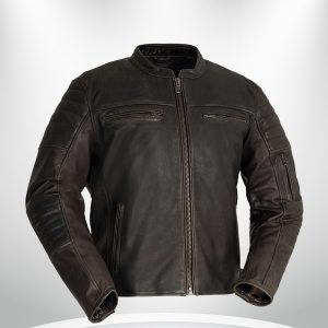 Commuter Rockstar Men's Brown Motorcycle Leather Jacket Front