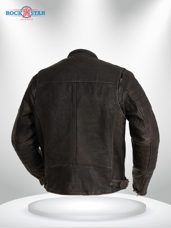 Commuter Rockstar Men's Brown Motorcycle Leather Jacket back