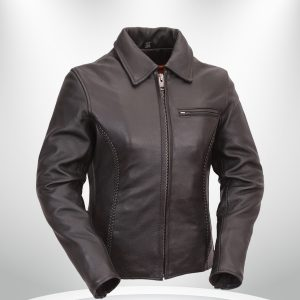 Contessa Rockstar Women's Brown Shirt Collar One Pocket Leather Jacket