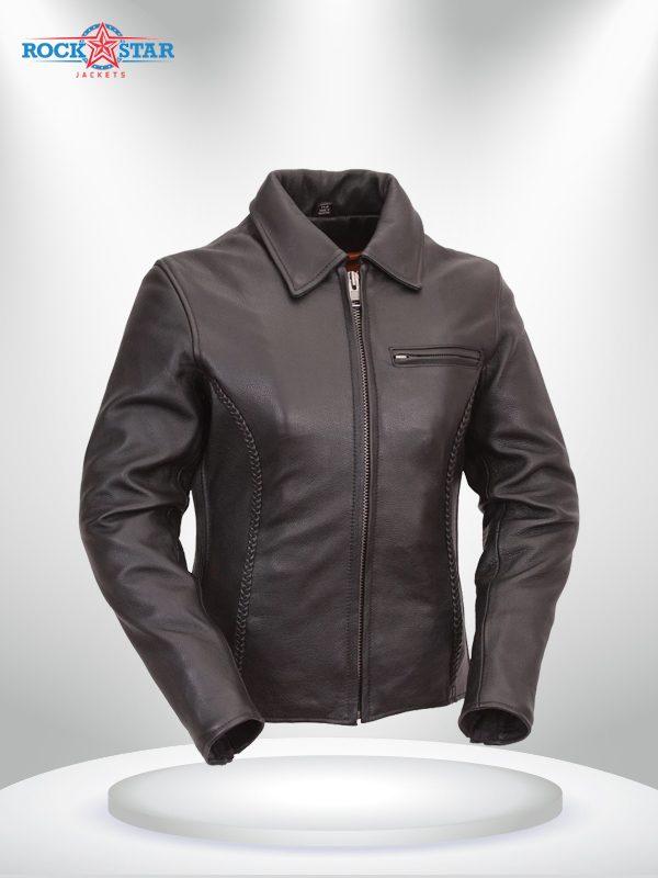 Contessa Rockstar Women's Brown Shirt Collar One Pocket Leather Jacket