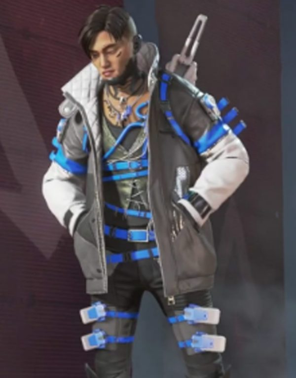 Crypto Skyward Apex Legends Black & White Leather Jacket front