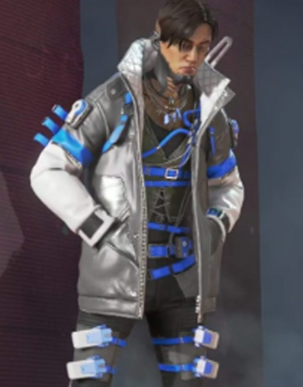 Crypto Skyward Apex Legends Black & White Leather Jacket side