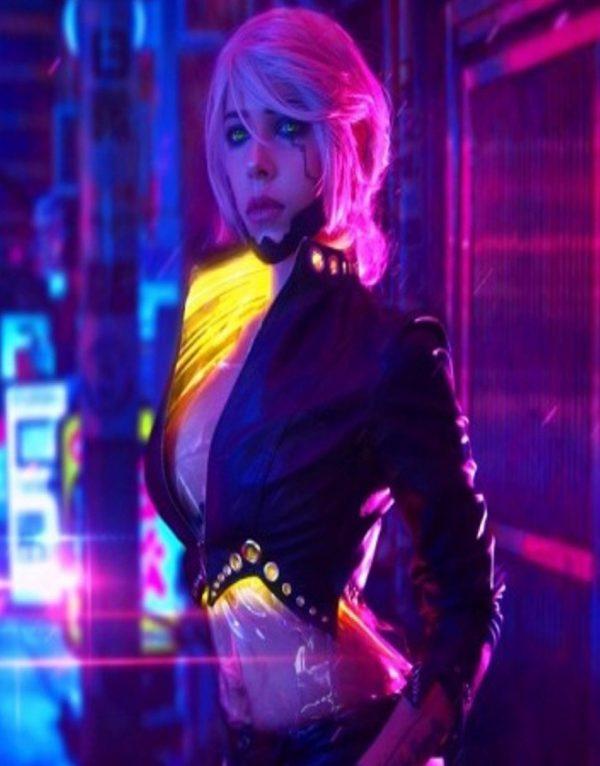 Cyberpunk 2077 Ciri Black Leather Jacket front