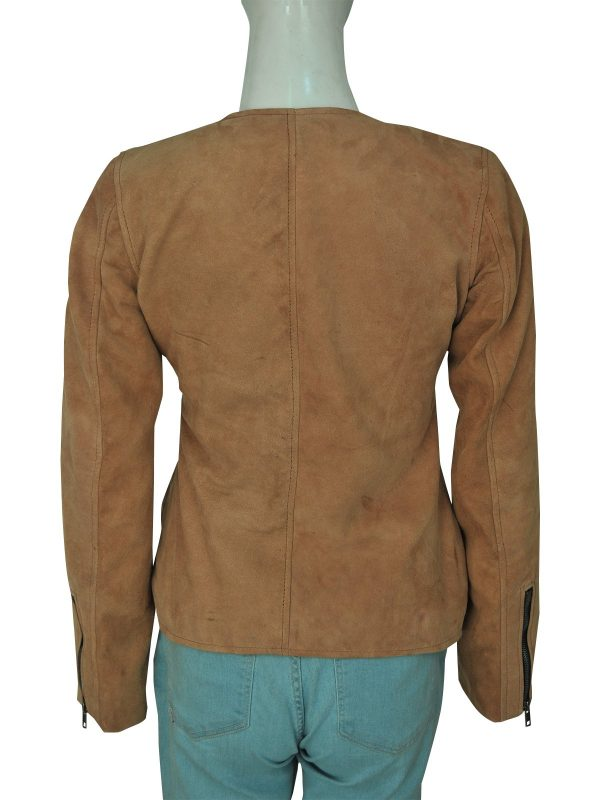 Dead To Me Linda Cardellini Brown Suede Leather Jacket back