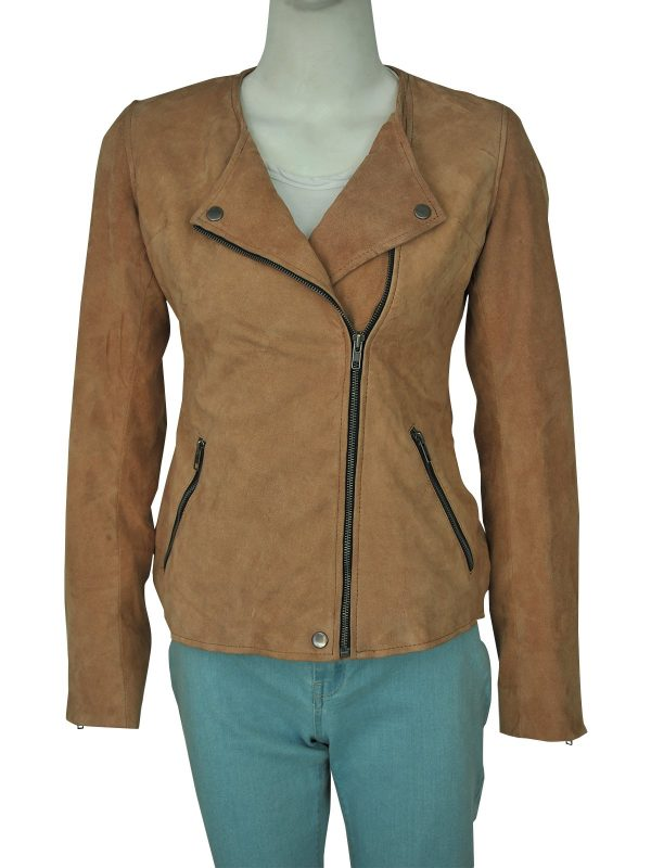 Dead To Me Linda Cardellini Brown Suede Leather Jacket front