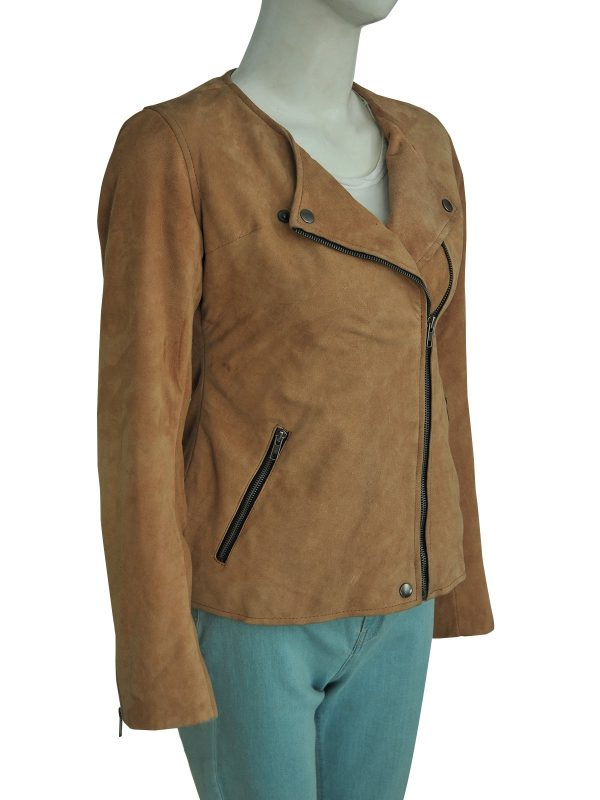 Dead To Me Linda Cardellini Brown Suede Leather Jacket side