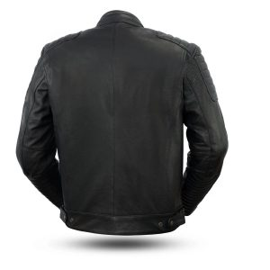 Defender Armor Rockstar Men's Motorcycle Black Leather Jacket back