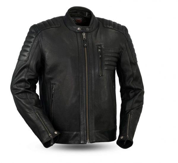 Defender Armor Rockstar Men's Motorcycle Black Leather Jacket front