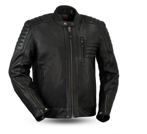 Defender Armor Rockstar Men's Motorcycle Black Leather Jacket front