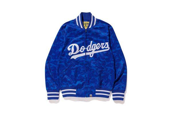 Dodgers BAPE X Mitchell Ness Mlb Blue Varsity Jacket front