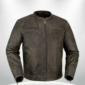 Drifter Rockstar Men's Motorcycle Brown Leather Jacket