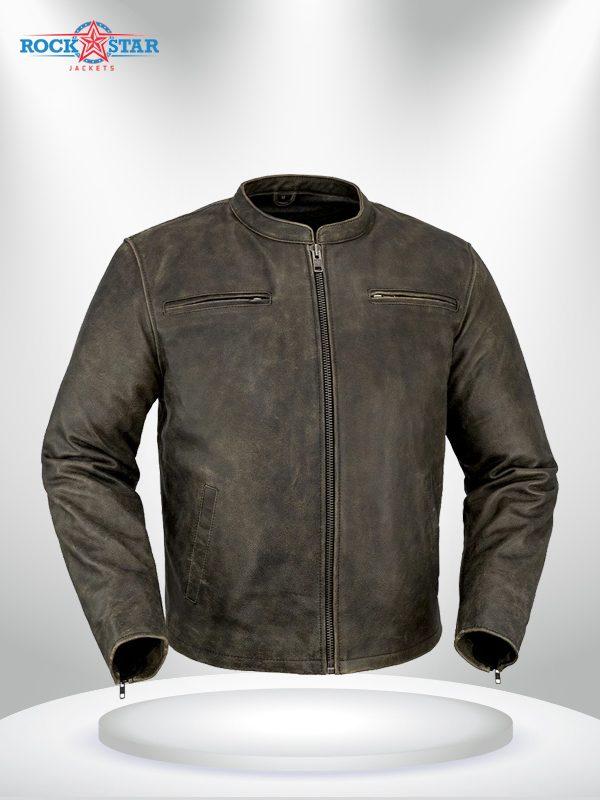 Drifter Rockstar Men's Motorcycle Brown Leather Jacket
