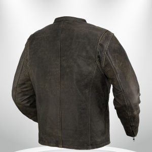 Drifter Rockstar Men's Motorcycle Brown Leather Jacket back