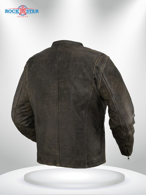 Drifter Rockstar Men's Motorcycle Brown Leather Jacket back