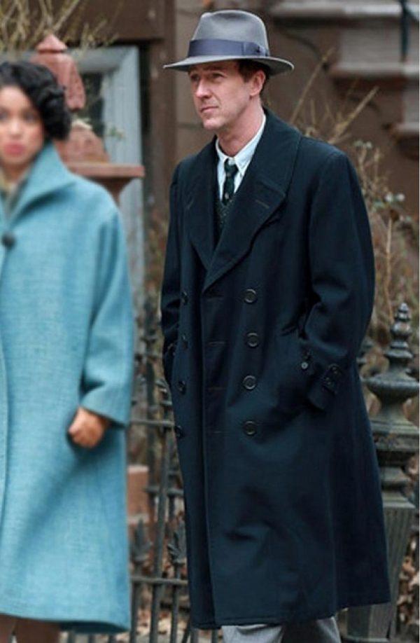 Edward Norton Motherless Brooklyn Black Long Wool Coat