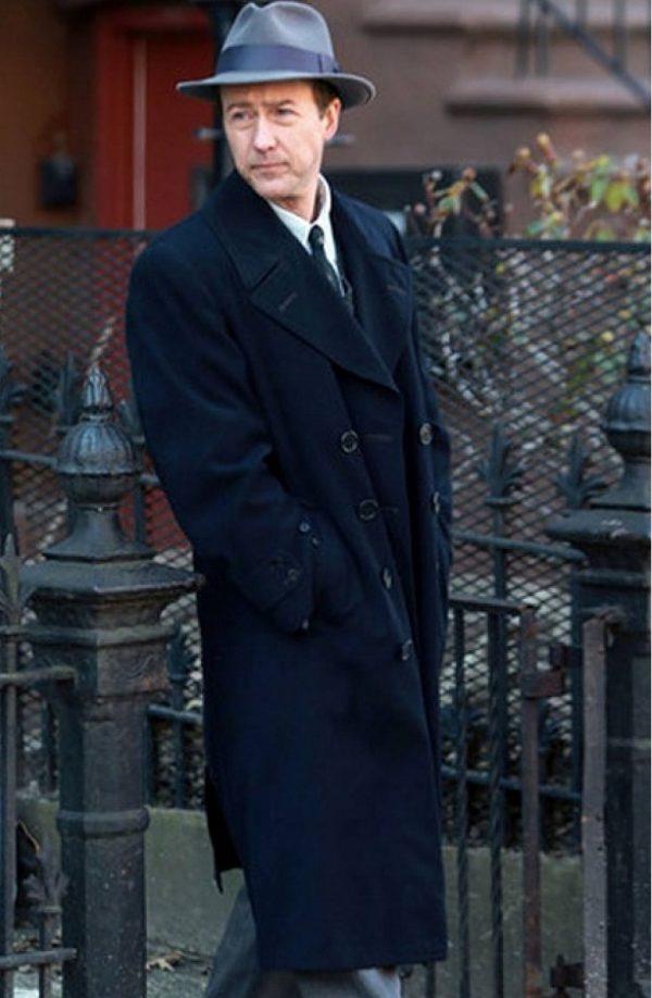 Edward Norton Motherless Brooklyn Black Long Wool Coat c