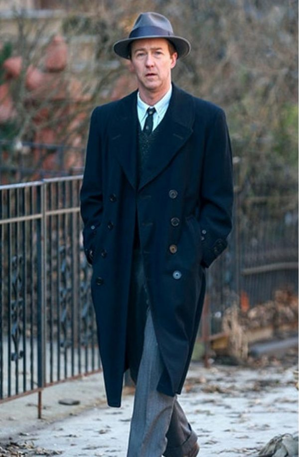 Edward Norton Motherless Brooklyn Black Long Wool Coat f