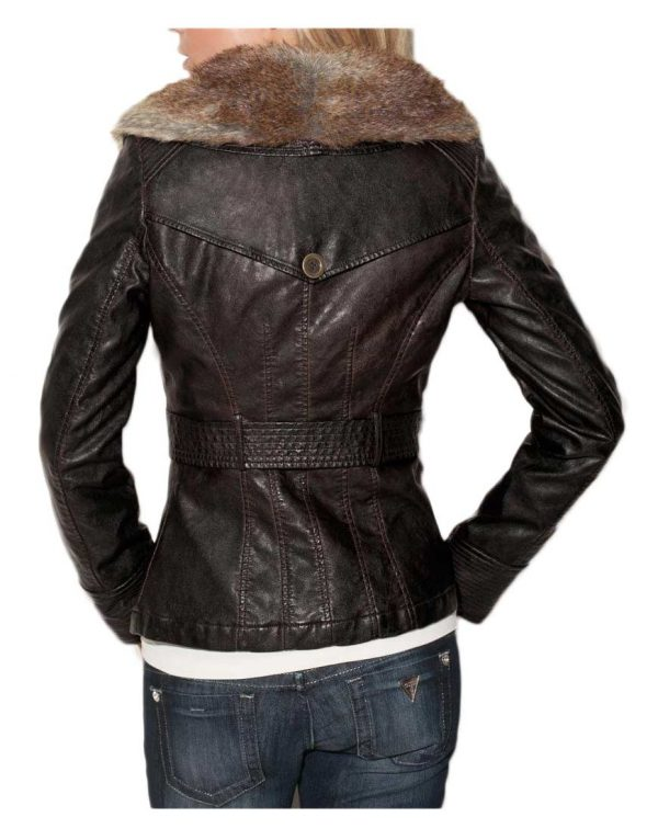 Faux Fur Collar Brown Leather Jacket back