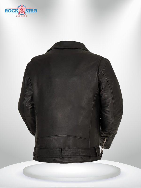 Fillmore Rockstar Men's Motorcycle Black Leather Jacket back