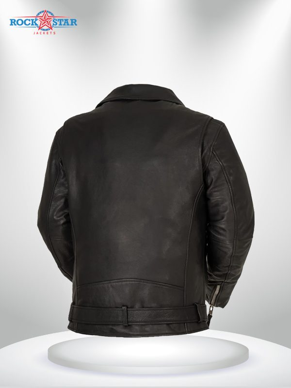 Fillmore Rockstar Men's Motorcycle Black Leather Jacket back