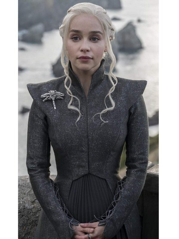 Game Of Thrones Emilia Clarke Grey Wool Coat
