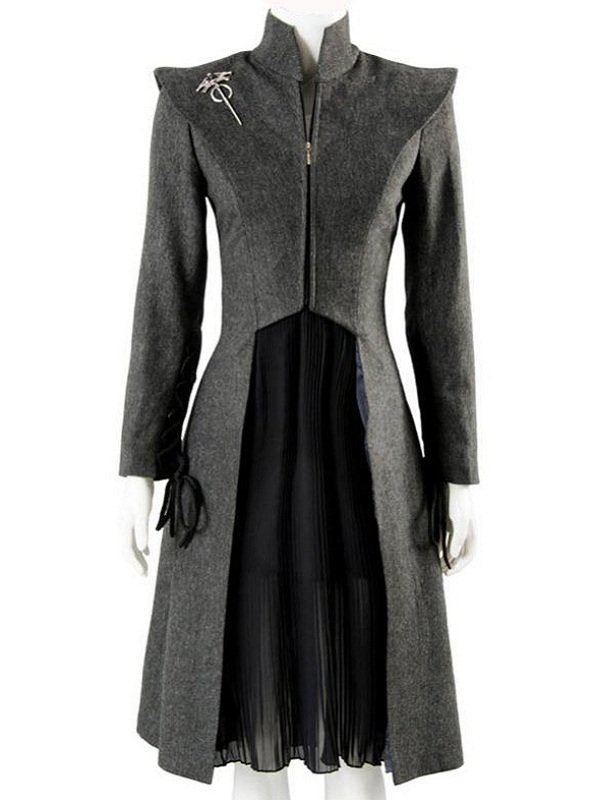 Game Of Thrones Emilia Clarke Grey Wool Coat front