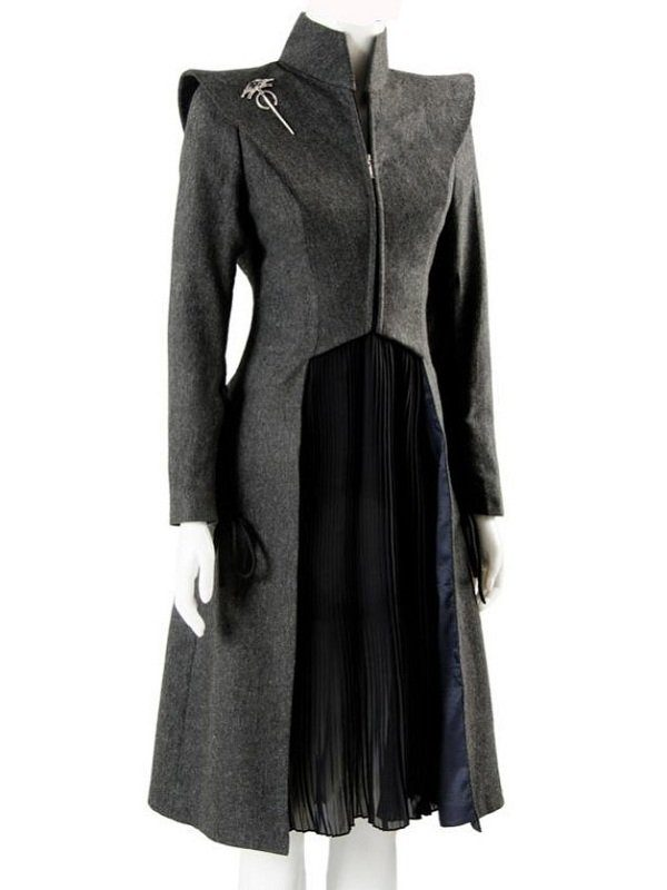 Game Of Thrones Emilia Clarke Grey Wool Coat side
