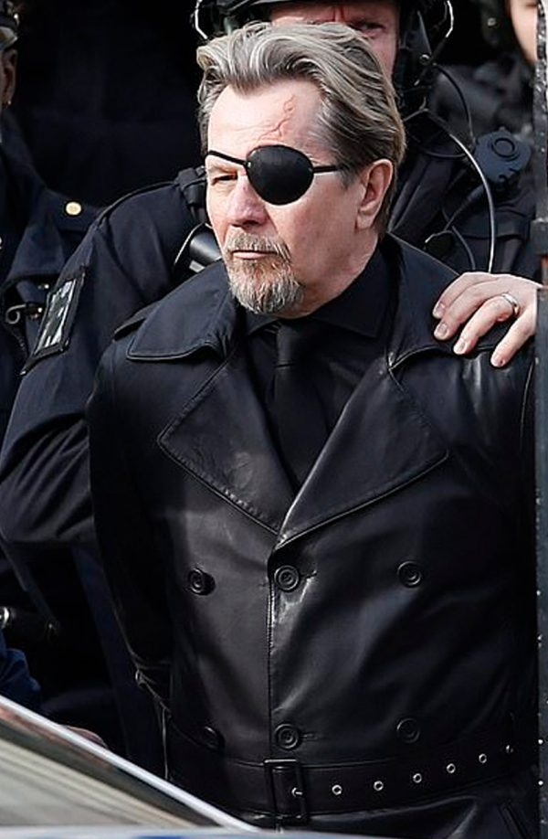 Gary Oldman The Courier Black Leather Trench Coat