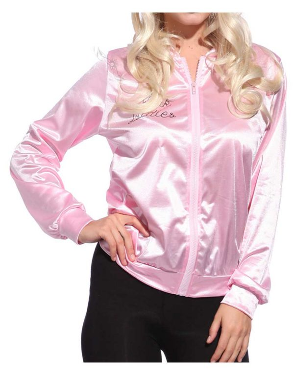 Grease Pink Ladies Michelle Pfeiffer Satin Jacket front